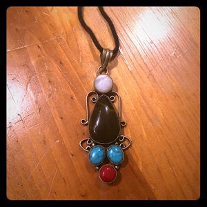 Brn Agate, Red Coral, Moonstone, Turquoise pendant